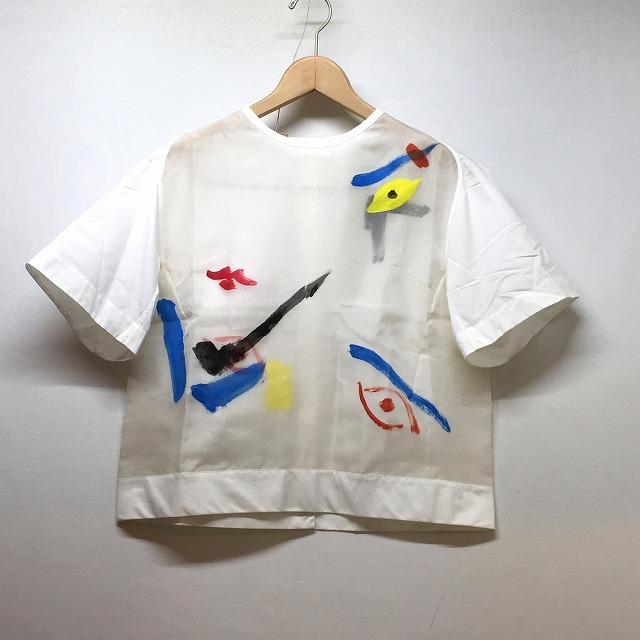 Shiatzy Chen シャッツィチェン Eye Motif Paint See-through Tops シャツ ブラウス サイズ36 レディース ウィメンズ WHITE ホワイト 中古 消費税込 送料無料【Y】