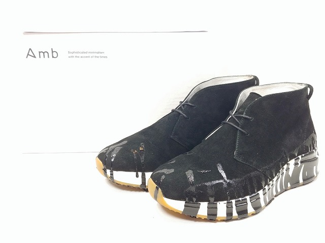 Amb エーエムビー Remake NUNO CAMURCA BLACK SOLA WHITE リメイク レザー スエード シューズ ブーツ スニーカー 消費税込 中古 送料無料【Y】
