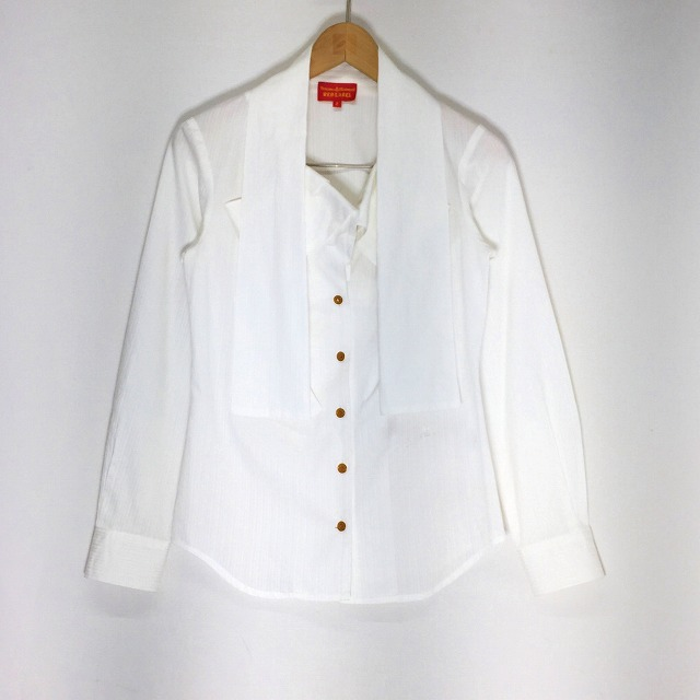 Vivienne Westwood RED LABEL ヴィヴィアン ウエストウッドレッドレーベル 変形襟 ストライプ シャツ ホワイト サイズ2 レディース 中古 消費税込み 送料無料【Y】