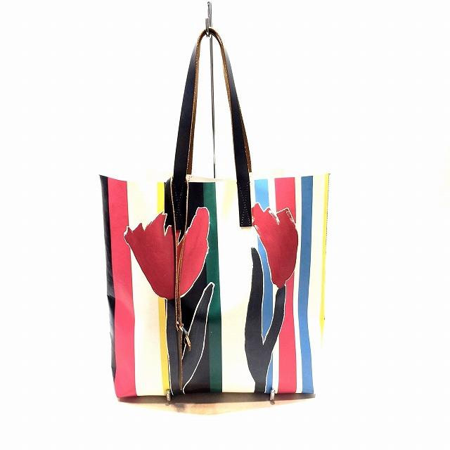 MARNI マルニ Tulip-Print PVC Shopping Bag チューリップ プリント PVC トートバッグ ユニセックス 中古 消費税込 送料無料【Y】
