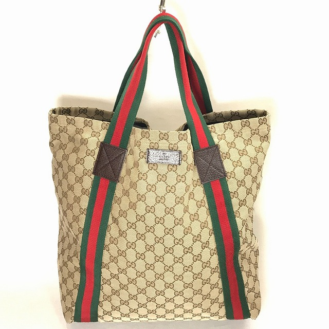 d7e08b353434 It includes GUCCI Gucci GG canvas sherry line tote bag 189669 GG pattern WG brown  brown beige red green man and woman combined use unisex consumption tax