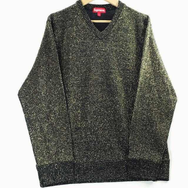 Supreme シュプリーム 2016年 春夏 16SS Tinsel Sweater チンセル Vネック 金糸 ラメ セーター ブラック 黒 金 Lサイズ メンズ 中古 送料無料 消費税込【Y】