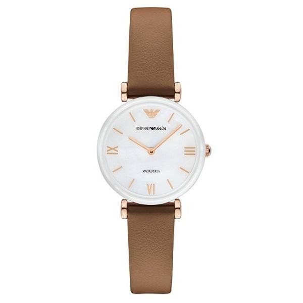 エンポリオアルマーニ ARMANI 腕時計 レディース 女性用 ホワイトシェル 白文字盤 ブラウン レザー AR11040 誕生日 お祝い ギフト