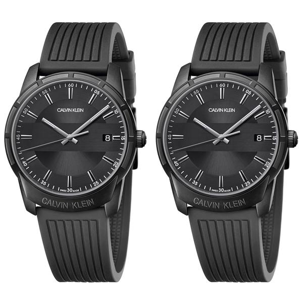 【ペア収納ケース付】カルバンクライン CK スイス製 時計 ペアウォッチ 同じサイズ 腕時計 EVIDENCE エビデンス ブラック 黒 ラバー K8R114D1K8R114D1 誕生日 お祝い ギフト おしゃれ オシャレ お洒落 ブランド