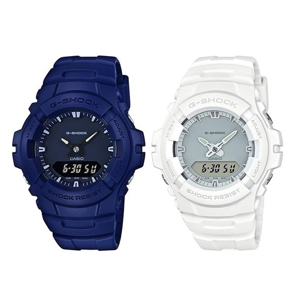 【全品対象クーポン配布中 】【海外モデル】カシオ G-SHOCK Gショック ジーショック ペアウォッチ シェア 腕時計 カップルおすすめ 強い耐久性 同じモデル2本 アナデジ ブルー ホワイト 青 白 G-100CU-2AG-100CU-7A