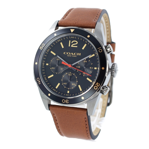 コーチ 時計 メンズ 腕時計 SULLIVAN SPORT サリバン スポーツ クロノグラフ ブラックケース ブラウン レザー 革ベルト 14602070 誕生日 お祝い ギフト