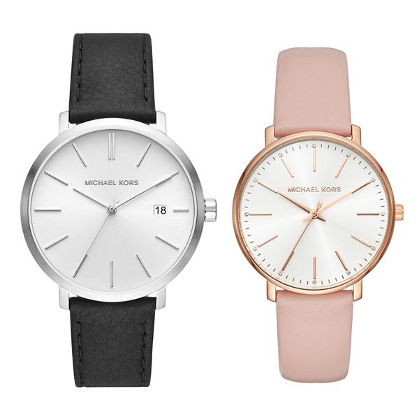 マイケルコース 時計 ペアウォッチ 2本セット 腕時計 ブレイク/パイパー ブラック ピンク レザー 革ベルト MK8674MK2741 誕生日 お祝い ギフト