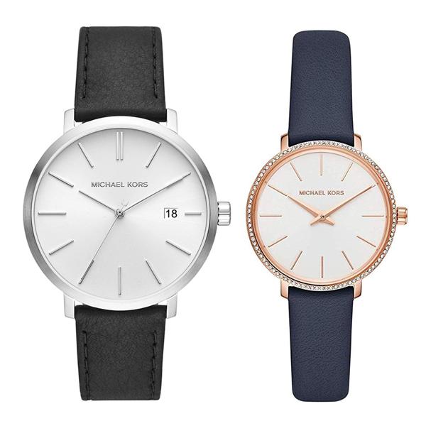 マイケルコース 時計 ペアウォッチ 2本セット 腕時計 ブレイク/ミニパイパー ブラック ネイビー レザー 革ベルト MK8674MK2804 誕生日 お祝い ギフト