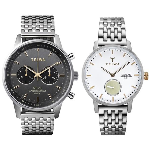 トリワ 腕時計 ペアウォッチ メンズ レディース スモーキーグレー クロノ シルバー カップル デート ギフト NEST114-BR021212SVST110-BS121212 誕生日 お祝い ギフト