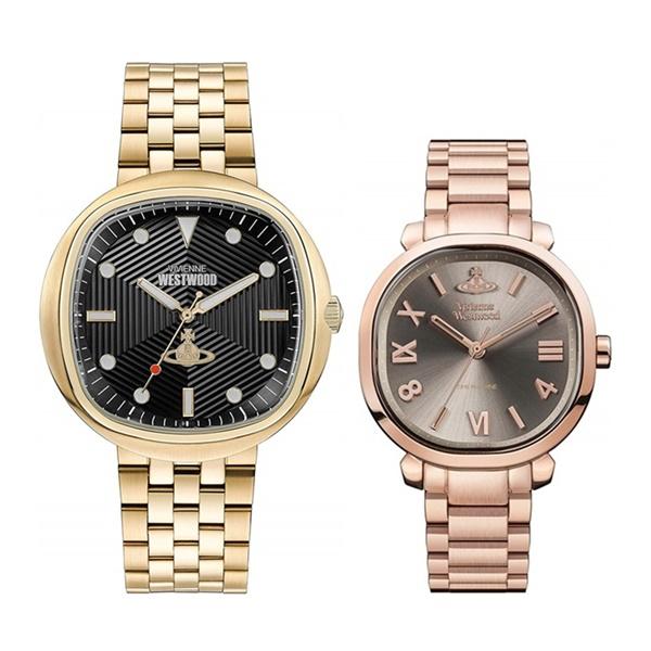 【ペアBOX付き】ヴィヴィアン ウエストウッド 腕時計 ペアウォッチ メンズ レディース ゴールド ローズゴールド 正方形 VV177GDBKVV214RSRS ペアセット カップル 誕生日 お祝い ギフト