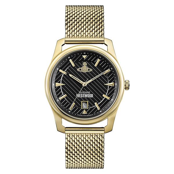 ヴィヴィアン ウエストウッド 時計 メンズ 腕時計 ブラック文字盤 ゴールド メッシュ ステンレス VV185BKGD 誕生日 お祝い ギフト:ブランド腕時計 nopple