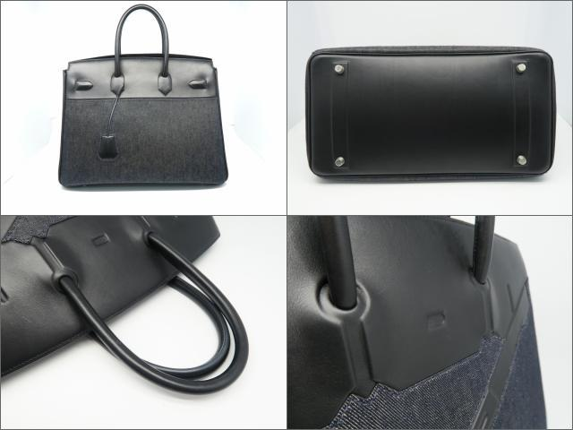 73c1976cba0 Authentic HERMES Shadow Birkin 35 HandBag ToteBag Ever calf leather Black