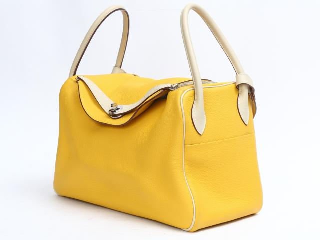 ... new zealand auth hermes lindy 34 mm shoulder hand bag calf leather  yellow beige brandoff ce018 59b5ccd54333a
