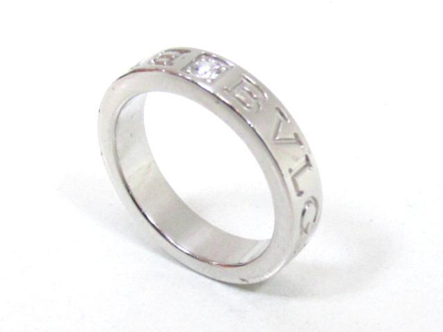 232aba3083b5 ... ブルガリダブルロゴリング指輪ブランドジュエリーユニセックスK18WG(750)ホワイト ...