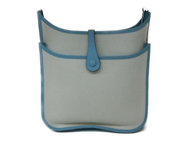 68d05c45bd91 Authentic HERMES Evelyne 3PM Shoulder crossbody Bag Clemence leather Toile H  Blue atool