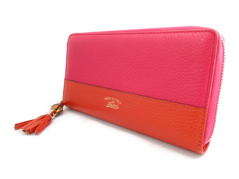 02298eb87610 ... グッチバンブータッセルラウンド長財布財布レディースレザーピンク×オレンジ(307984 ...