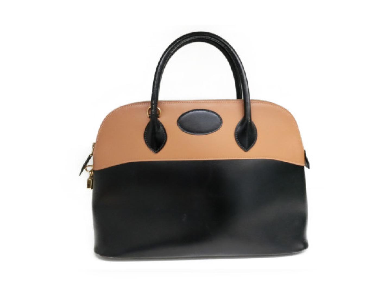 BRANDOFF  Authentic HERMES Bolide 35 hand Bag Box calf leather Black ... 11bd14560a7ac