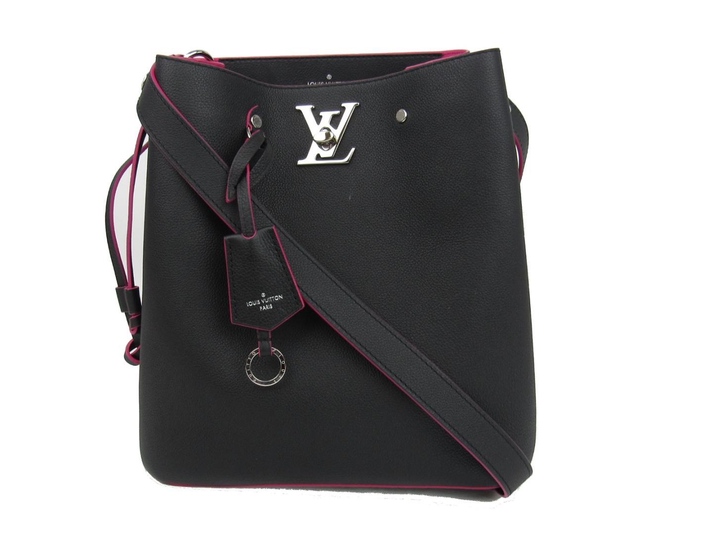 745e43843fdd Auth LOUIS VUITTON Lock Me Bucket Shoulder Bag M54677 Leather Black Noir  Used Vintage