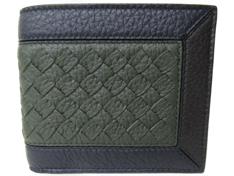 ボッテガ・ヴェネタ 二つ折財布 財布 ユニセックス レザー カーキXブラック (201807)