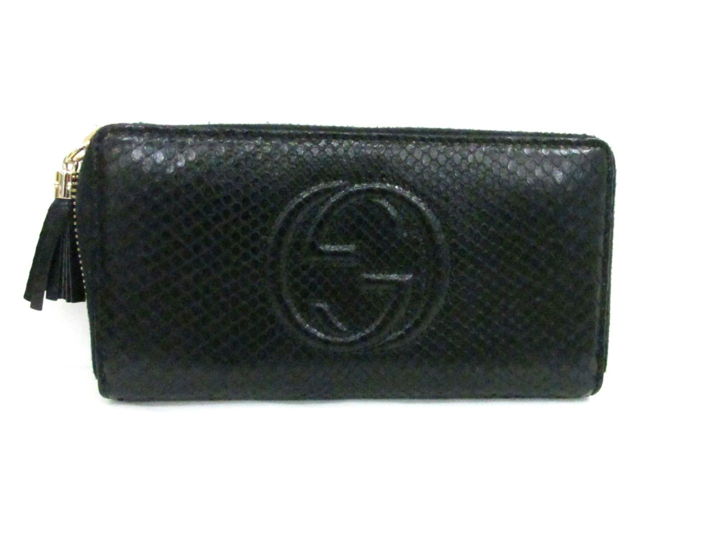 3df60ef0790 Authentic GUCCI Soho round long wallet Purse round long wallet python Black  (308004.0416)