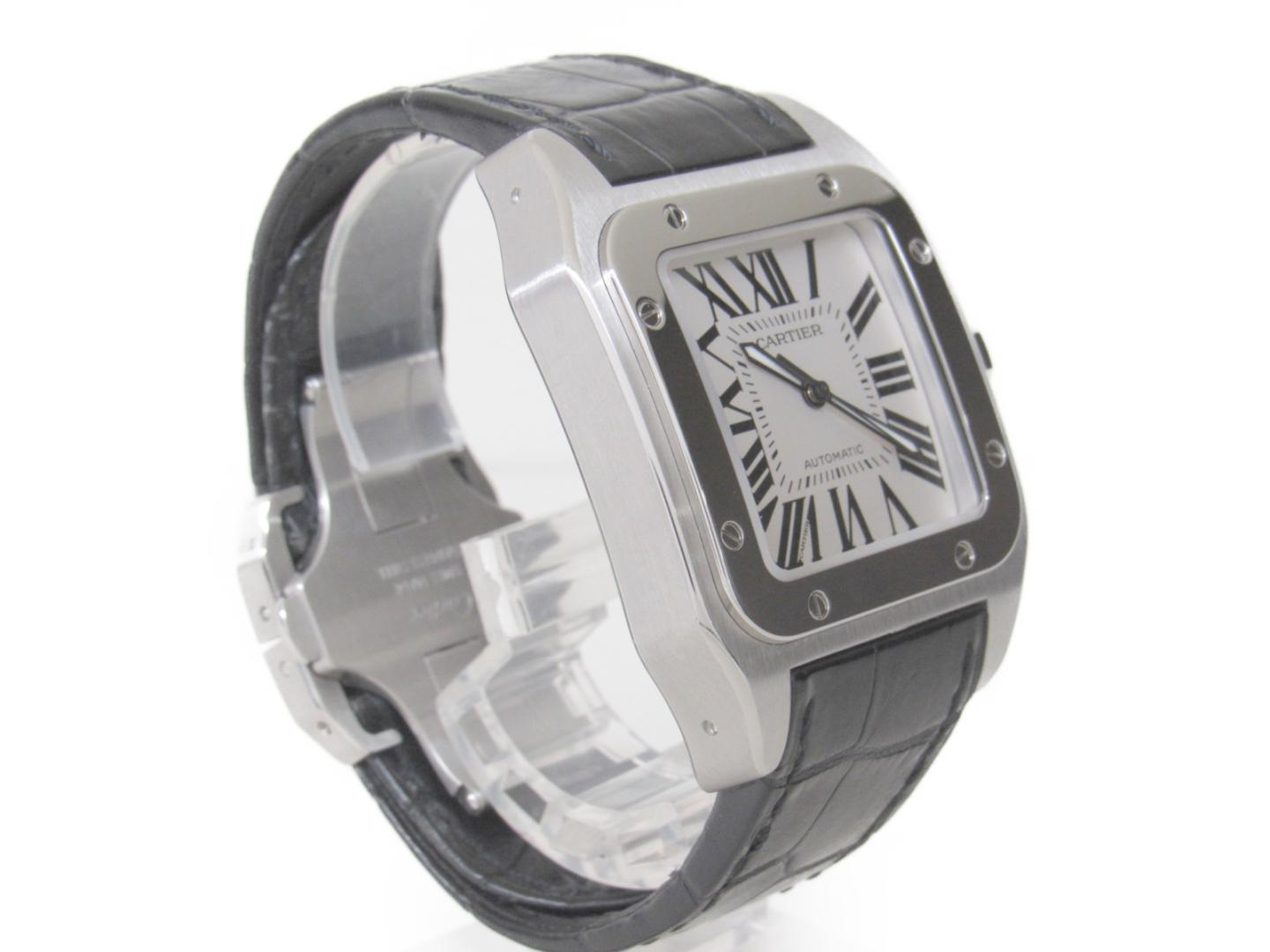e4016879be2d Authentic Cartier Santos 100LM Watch W 20077 X 8 Automatic Stainless Steel x  Leather Belt