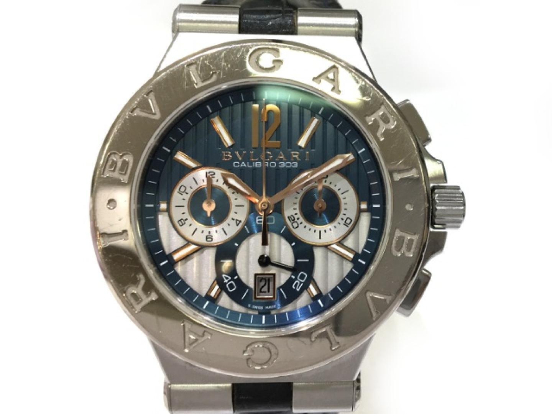 51b426839c65 【】ブルガリディアゴノカリブロ303時計メンズレザーベルト×K18WG(ホワイトゴールド) ...