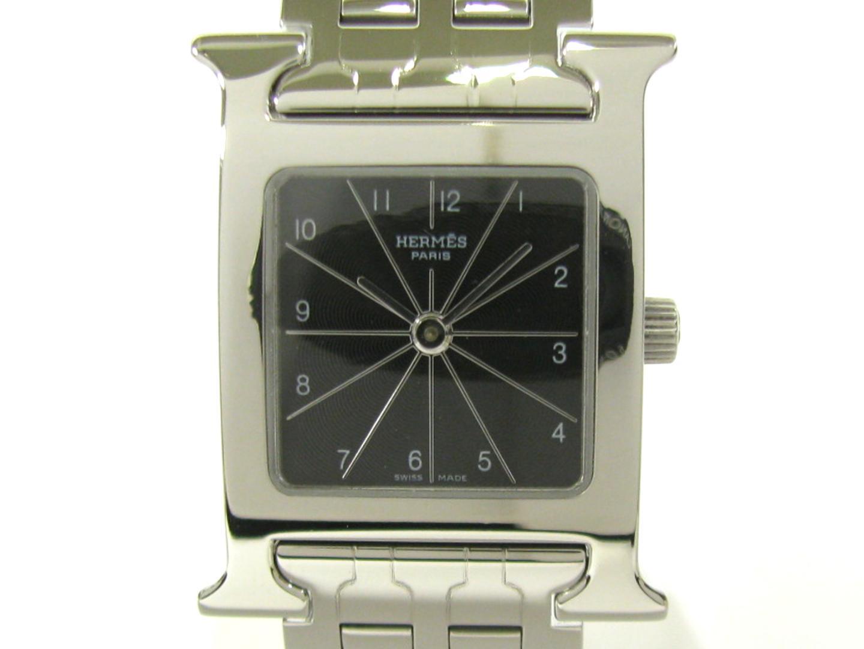 【中古】エルメス Hウォッチ ウォッチ 腕時計 レディース ステンレススチール(SS) ブラック (HH1.210)