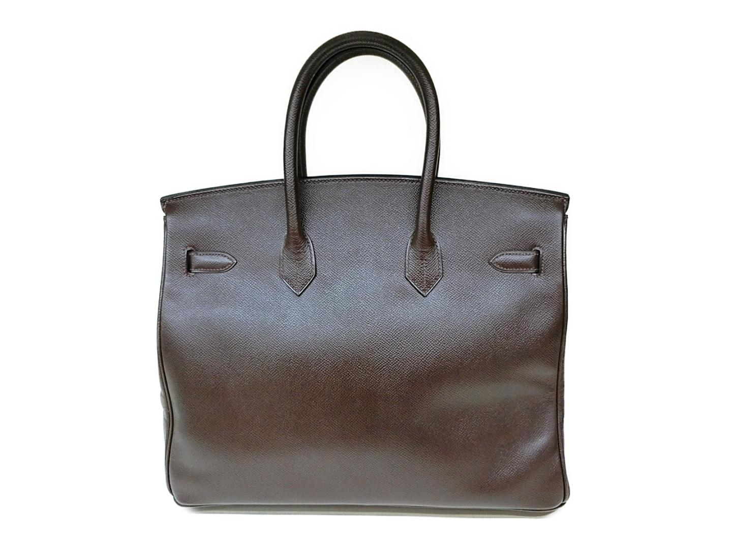 4535fea242f8 Authentic HERMES Birkin 35 Hand tote Bag Couchevel leather Marron Brown GHW