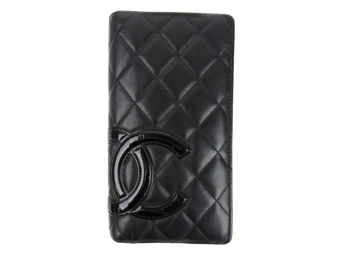 7743a7d8bc2c Authentic CHANEL Cambon line ZIP long Wallet Purse leather X enamel Black X  Black