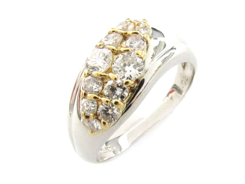 【最大24回無金利】 ジュエリー ダイヤモンド リング 指輪 レディース K18YG (750) イエローゴールド x PT900 プラチナ (1.02ct) 【中古】   JEWELRY BRANDOFF ブランドオフ アクセサリー