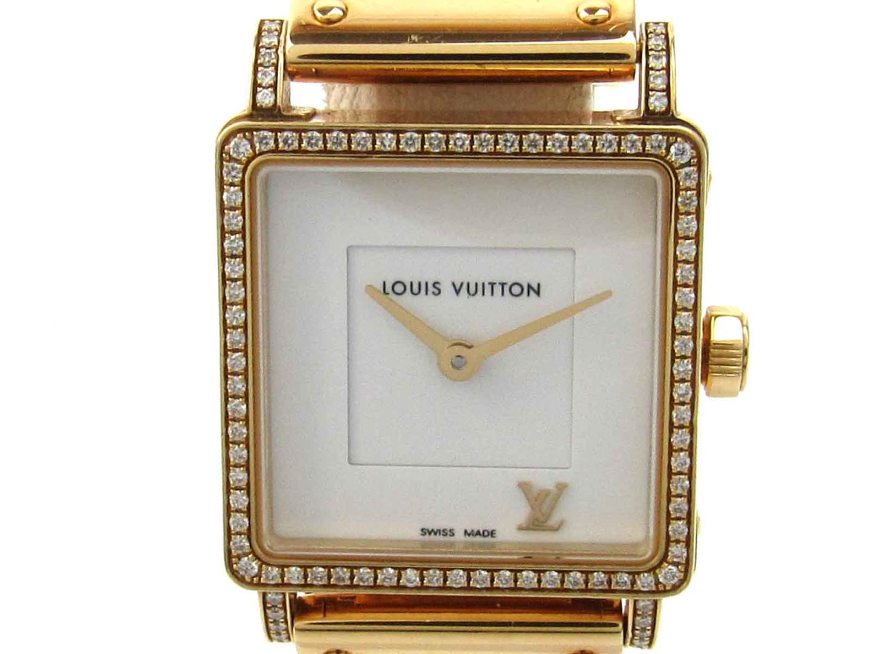 【最大24回無金利】 ルイヴィトン アンプリーズ ベゼルダイヤモンド ウォッチ 腕時計 レディース K18YG (750) イエローゴールド レザーベルト ダイヤモンド (Q321P) 【中古】   LOUIS VUITTON BRANDOFF ブランドオフ ヴィトン ビトン ルイ・ヴィトン ブランド ブランド時計