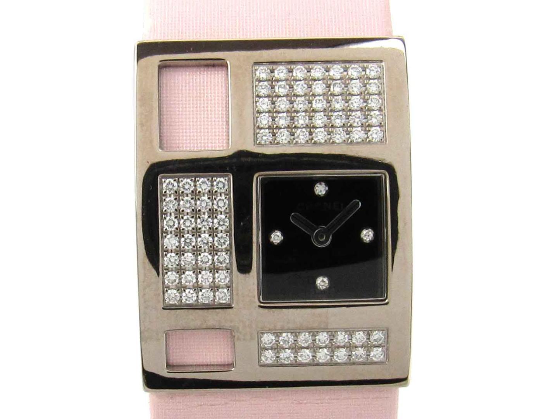 【中古】シャネル 1932 アールデコ ダイヤモンド ウォッチ 腕時計 レディース K18WG(750)ホワイトゴールド x ダイヤモンド x サテン (H1183)