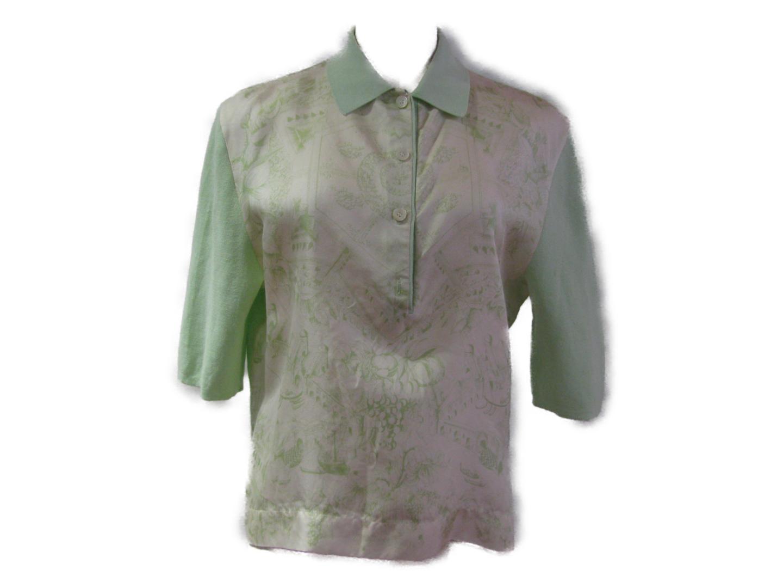 【中古】エルメス ポロシャツ 衣料品 レディース シルクxコットン ライトグリーン