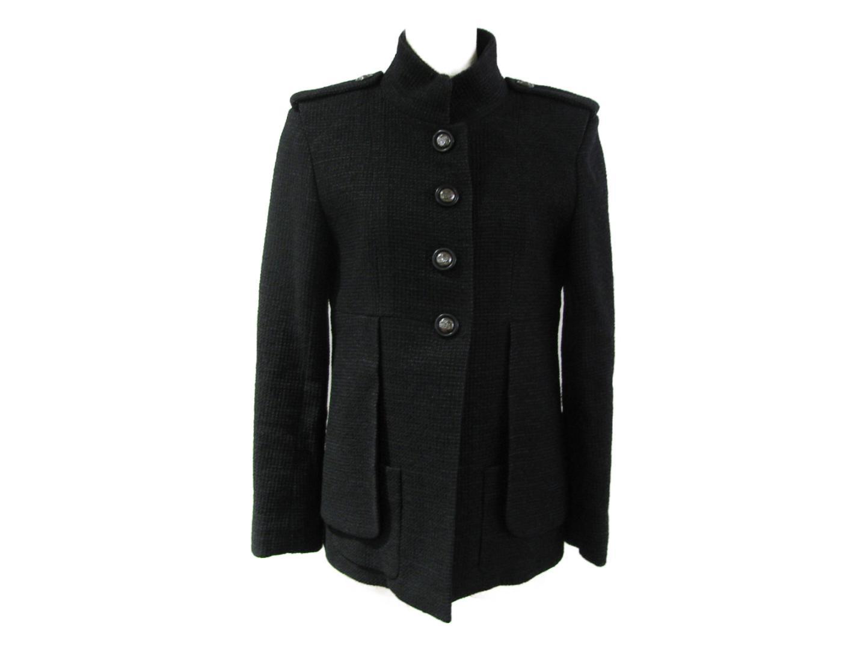 【中古】シャネル ジャケット 衣料品 レディース ナイロン73%/ポリエステル27% ブラック