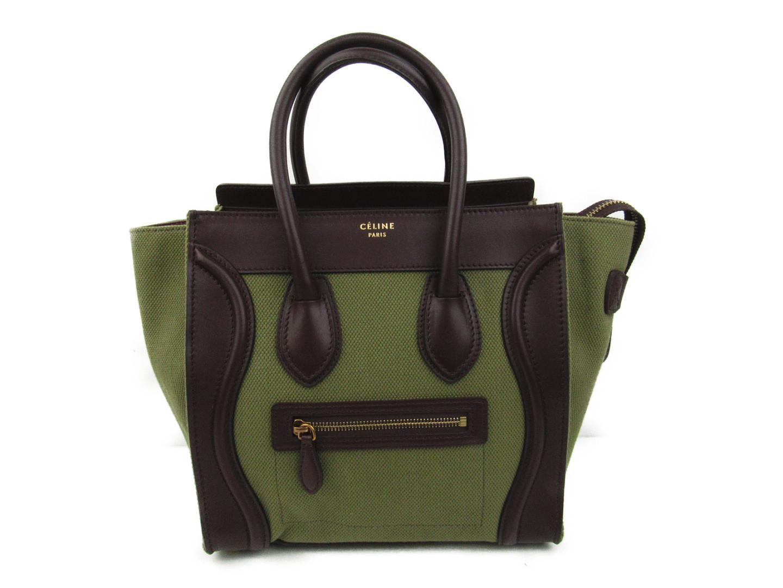 BRANDOFF  Authentic CELINE Luggage Micro Shopper Tote Bag Canvas x ... 3304966600bae