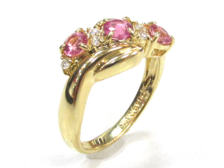 【中古】ジュエリー ピンクトルマリンリング 指輪 11.5号 貴金属 宝石 レディース K18YG(750) イエローゴールドxピンクトルマリン(0.48ct)xダイヤモンド(0.09ct)