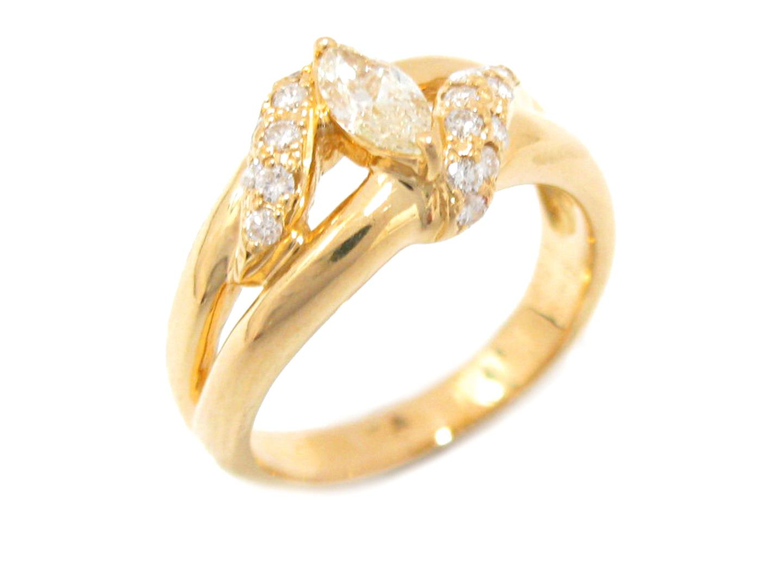 【中古】ジュエリー ダイヤモンド リング 指輪 11号 貴金属 宝石 レディース K18YG(750) イエローゴールド (0.25 / 0.34ct)
