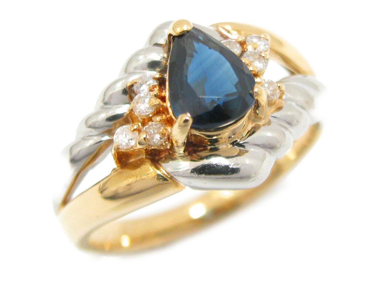【中古】ジュエリー サファイア リング 指輪 12号 貴金属 宝石 K18YG(750) イエローゴールド PT850 (0.82ct) ダイヤモンド (0.11ct)