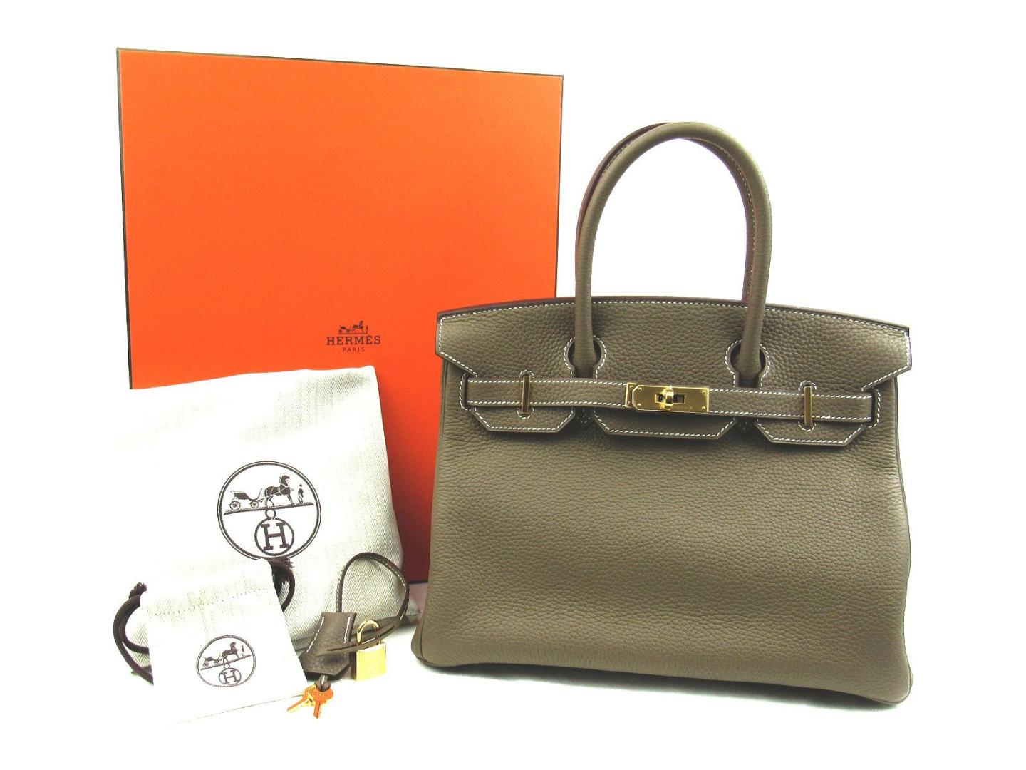 BRANDOFF  Authentic HERMES Birkin 30 Hand tote Bag Clemence leather Etoupe  Gray GHW  c52ed4c17ff6f