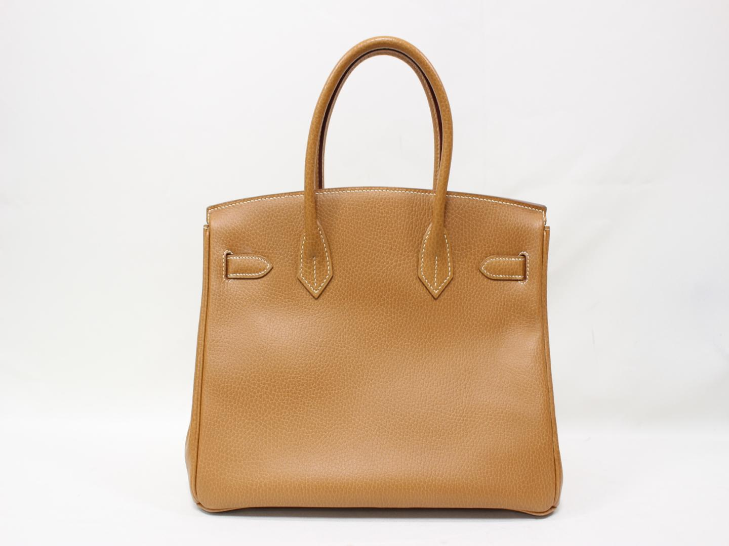 ... official store authentic hermes birkin 30 hand tote bag ardennes leather  gold brown ghw d8f25 bd190 4415219901c0c