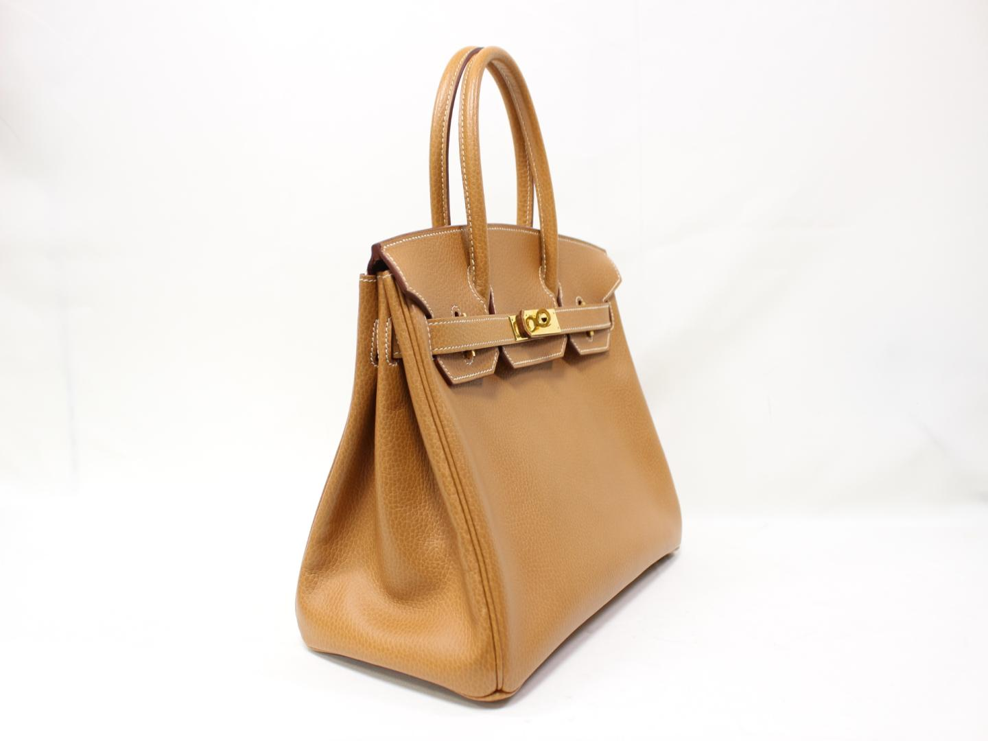26a35a68adce ... official store authentic hermes birkin 30 hand tote bag ardennes  leather gold brown ghw 2666d cfa24