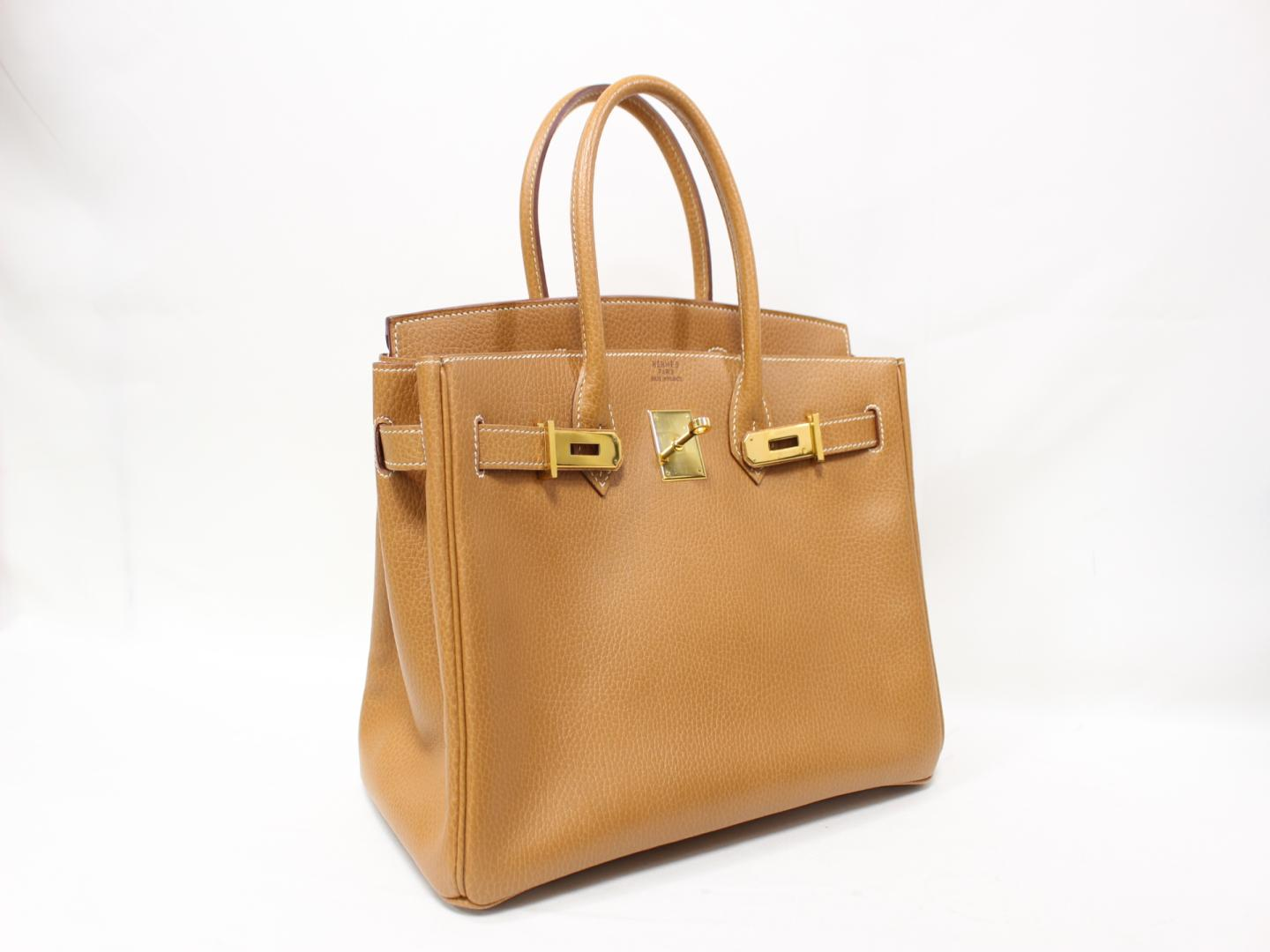 dd3f3927ef2c ... official store authentic hermes birkin 30 hand tote bag ardennes  leather gold brown ghw 2666d cfa24
