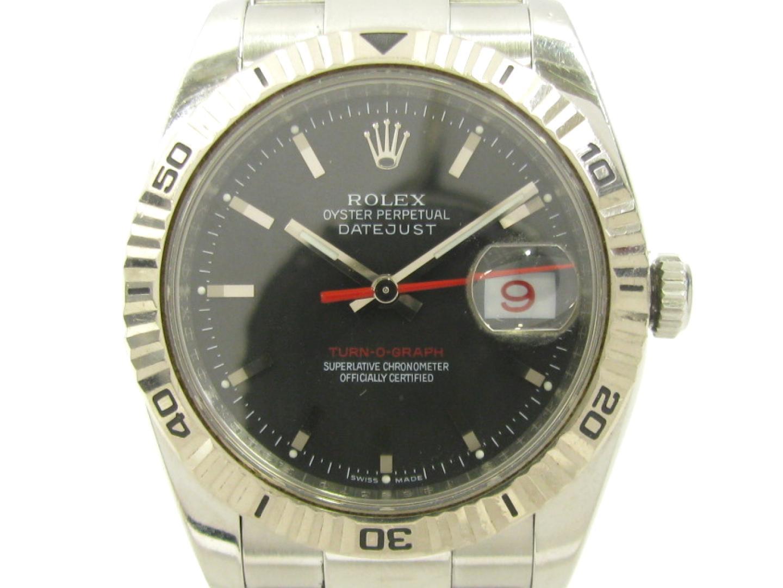 【中古】ロレックス ターノグラフ ウォッチ 腕時計 メンズ ステンレススチール (SS) XK18WG (750) ホワイトゴールド ブラック (116264)