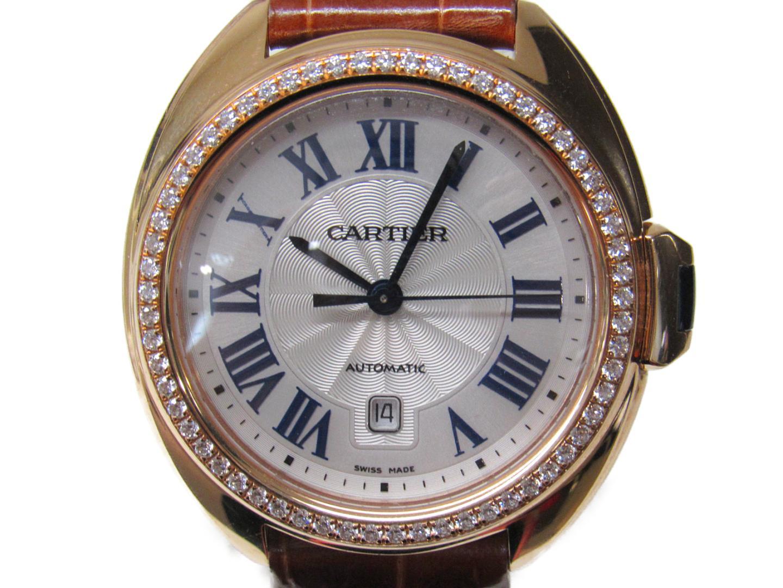 【中古】カルティエ クレ・ドゥ・カルティエ 腕時計 ウォッチ レディース レザーベルト x K18PG ダイヤモンド (WJCL0047)