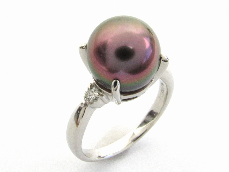 【中古】ジュエリー パール ダイヤモンド リング 指輪 15号 貴金属 宝石 レディース PT900 プラチナ ダイヤモンド0.13ct
