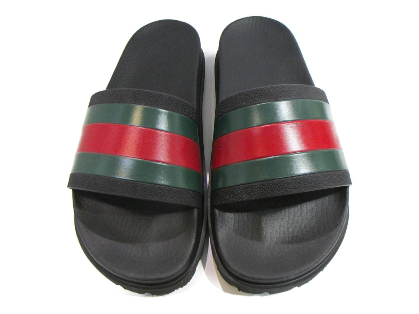 9151395c1c1 Authentic GUCCI Web Slide Sandals Or Other Mens Leather Black X Green Red  429469GIB101098