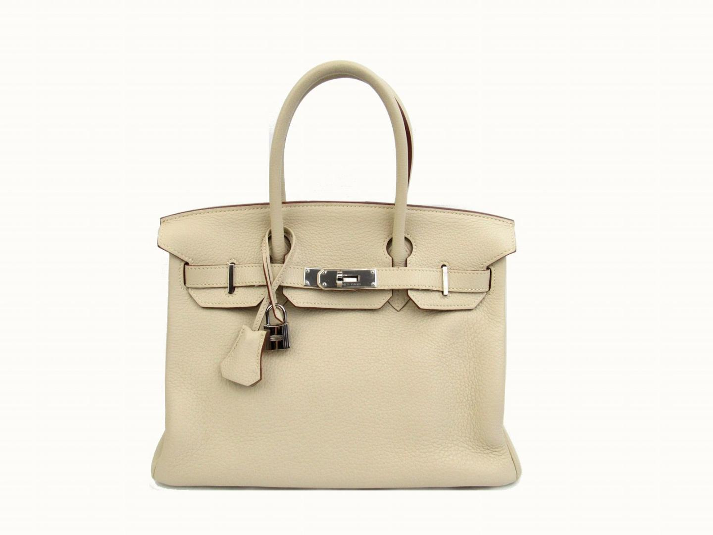 Authentic HERMES Birkin 30 Hand tote Bag Clemence leather Parchemin Beige  SHW e58ce1979cf5e