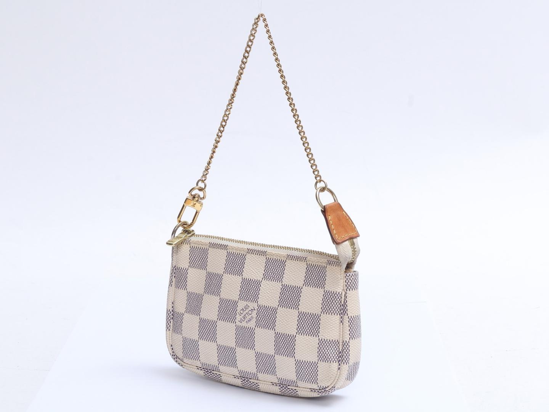 a862e6d277af Authentic LOUIS VUITTON Mini Pochette accessory pouch N58010 Damier Azur