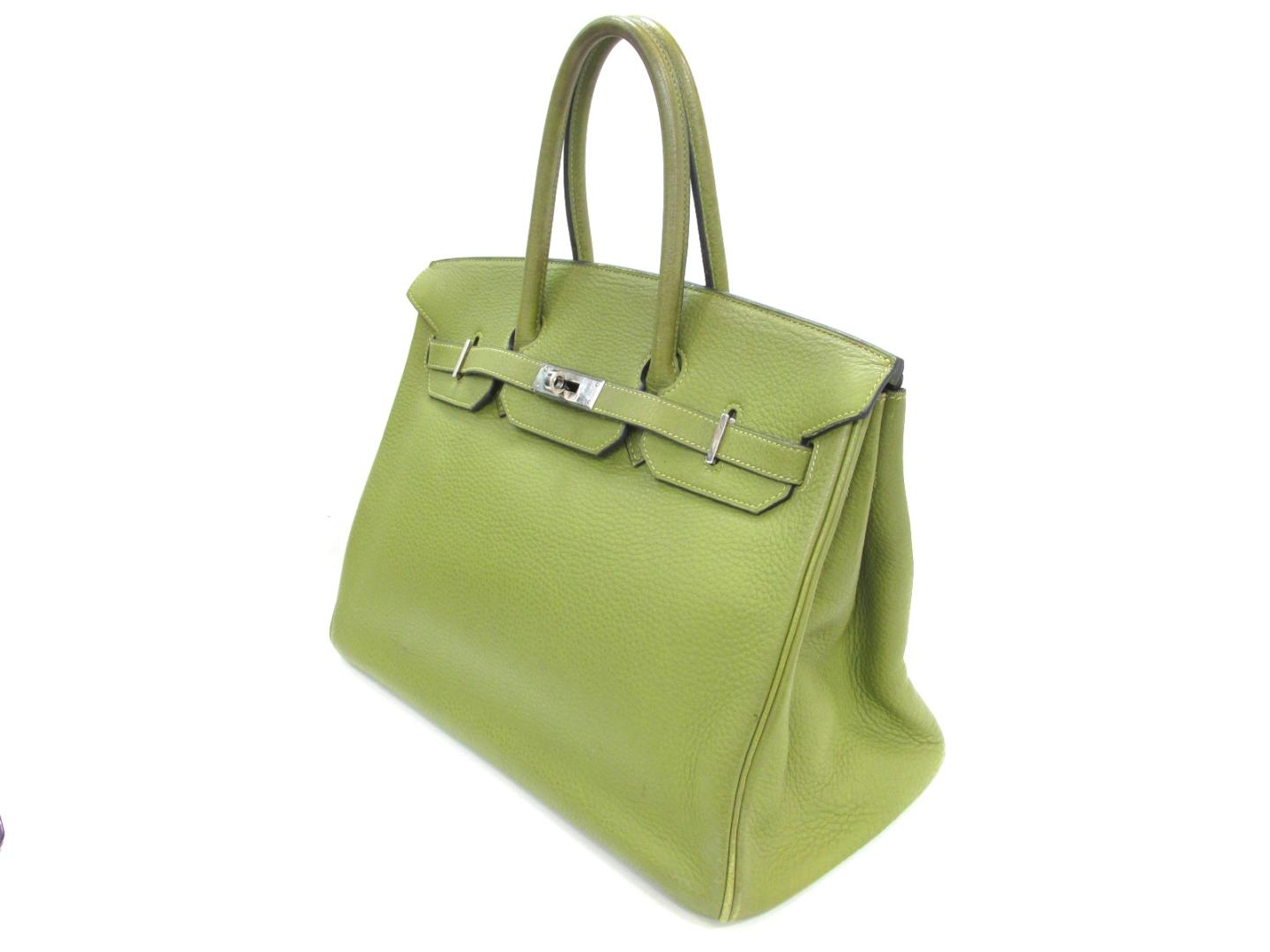 Authentic HERMES Birkin 35 Hand tote Bag Clemence leather Vert anis Green  SHW 2d7ef3d41c