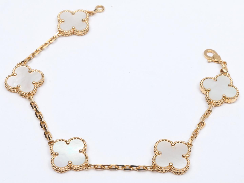 Authentic Van Cleef Arpels Vca Alhambra Bracelet 5p Mother Of Pearl K18